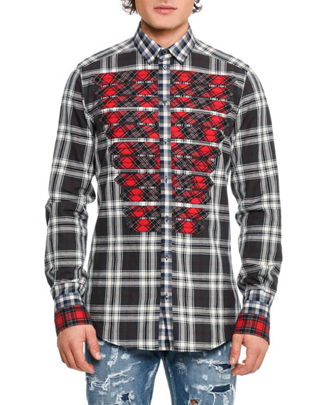Mixed-Plaid Military Shirt, Medium Gray