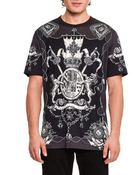 Nautical Crests Cotton T-Shirt, Black/White