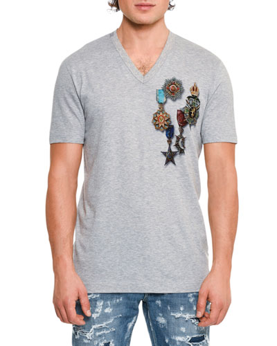Military Medals Cotton V-Neck T-Shirt, Gray