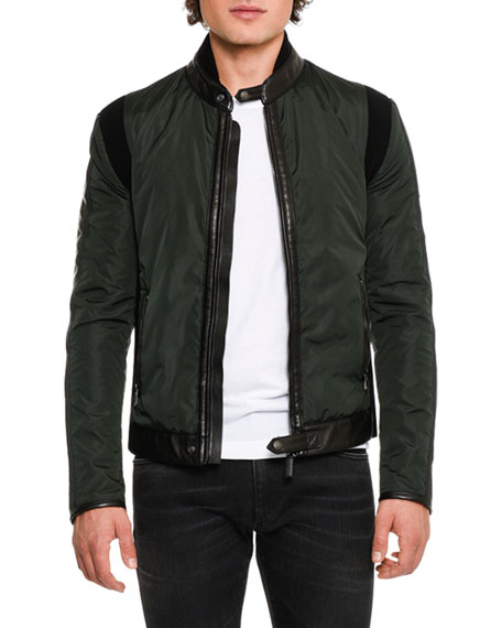 Leather-Trim Nylon Jacket, Dark Green