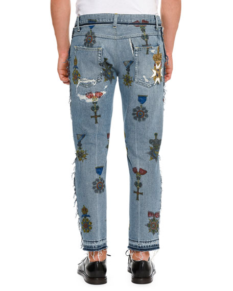 Military Embroidered Straight-Leg Jeans with Released Hem, Blue