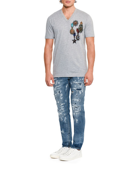 Distressed Slim-Fit Jeans, Blue