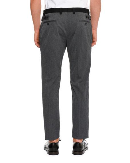 Wool Side-Stripe Pants, Dark Gray