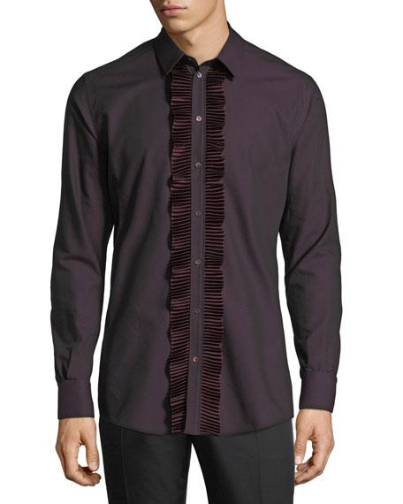 Dot-Texture Tuxedo Shirt