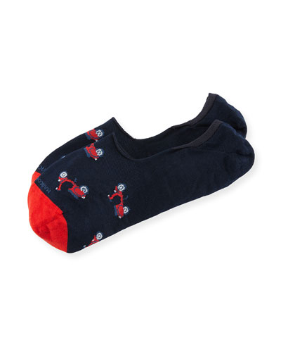 Invisible Touch Scooter No-Show Socks, Red/Navy