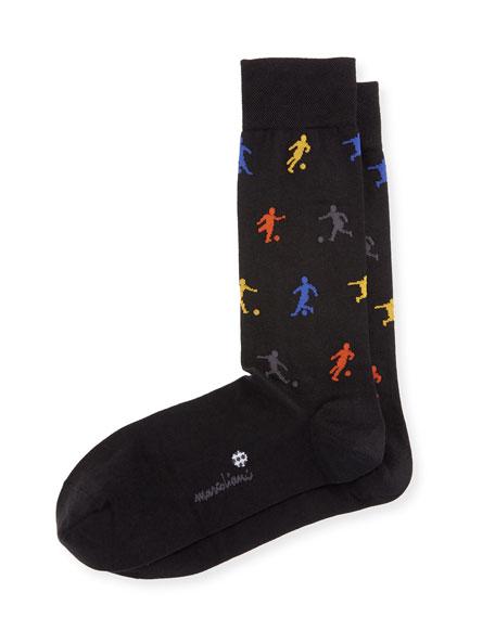 Marcoliani Soccer Crew Socks, Black