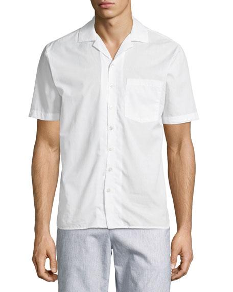Cuban Short-Sleeve Button-Front Shirt, White