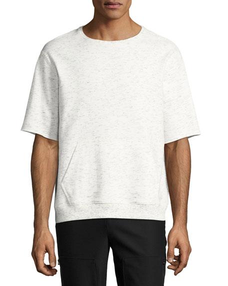 Short-Sleeve Melange Sweatshirt, Gray
