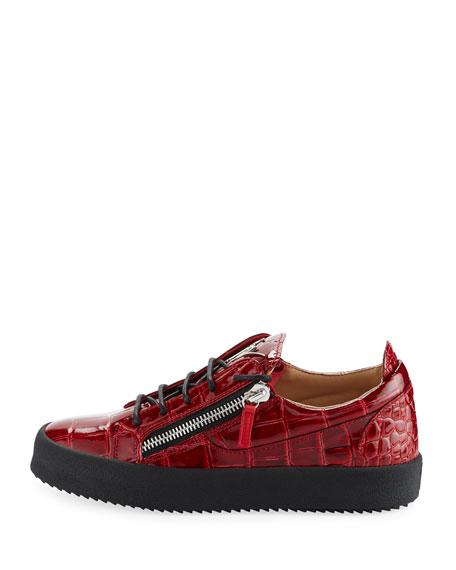 Men's London Croc-Embossed Leather Low-Top Sneaker