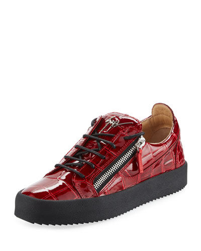 Men's London Croc-Embossed Leather Low-Top Sneaker