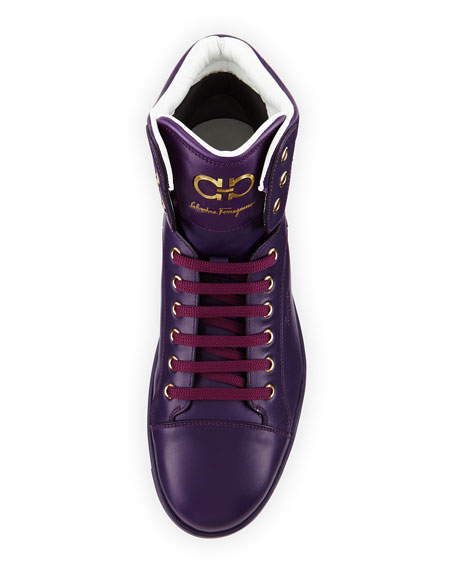 Men's Calfskin High-Top Sneakers, Purple