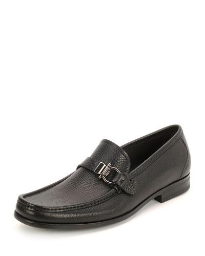 Muller Textured Calfskin Side Gancio Loafer, Black