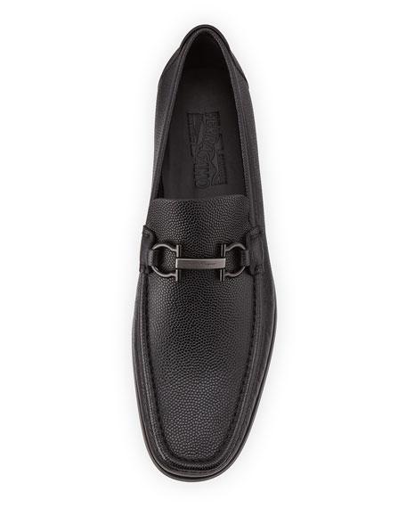 Pebbled Calfskin Gancini Loafer, Black