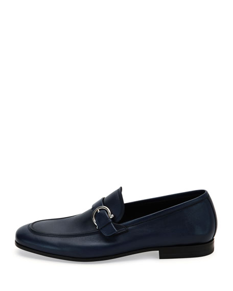 Soft Calfskin Side-Gancio Loafer, Blue Marine