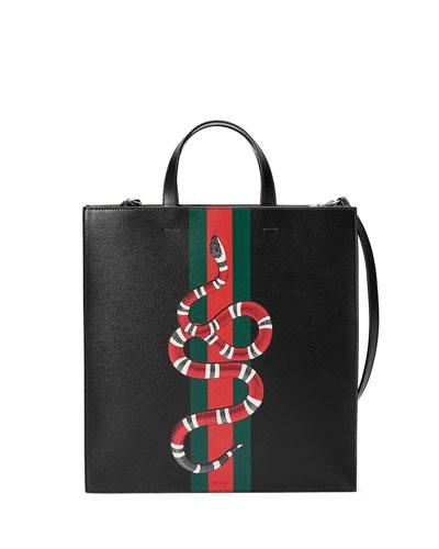 Web & Snake Leather Tote Bag