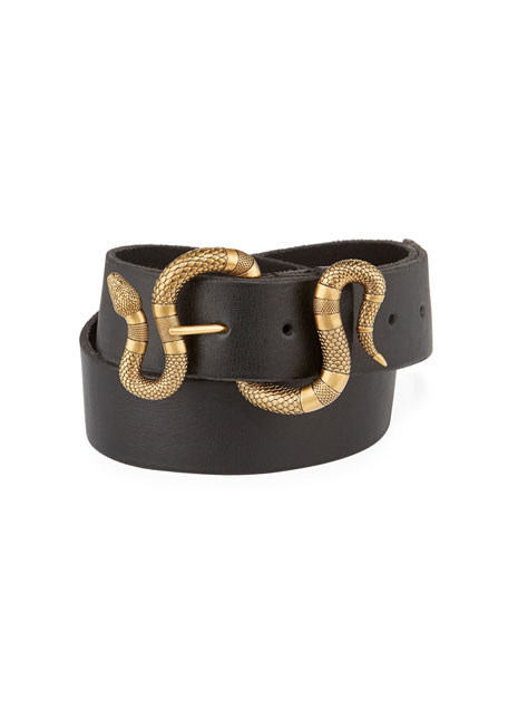 b3cdf789a6762d Gucci Leather Snake-Buckle Belt