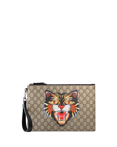 b74f94e45edf Gucci Angry Cat GG Supreme Pouch