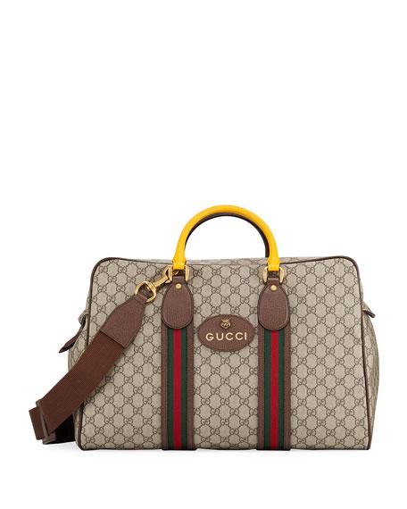 d91496f368ca Gucci Men's Soft GG Supreme Duffel Bag with Web