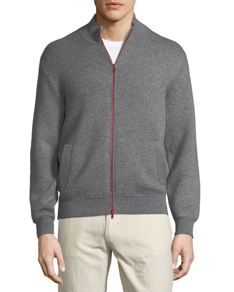 Double-Face Cashmere Bomber Jacket w/ Contrast Zipper