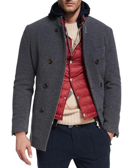 Wool-Cashmere Zip-Front Pea Coat, Dark Gray
