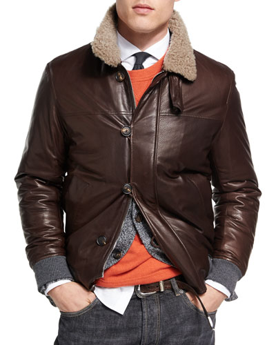 Leather Jacket with Shearling Collar