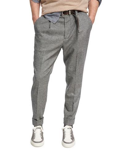 Glen Plaid Wool-Cashmere Leisure-Fit Pants