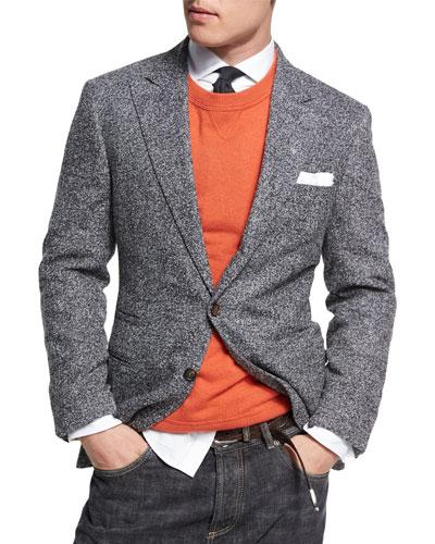 Donegal Tweed Alpaca-Wool Sport Jacket, Medium Gray