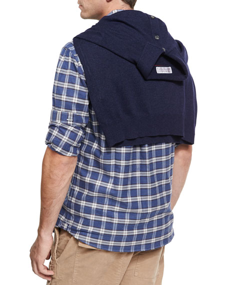 Madras Plaid Flannel Cotton Shirt, Gray/Blue