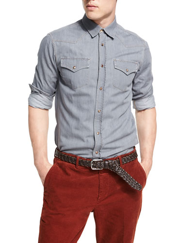 Leisure-Fit Denim Western Shirt