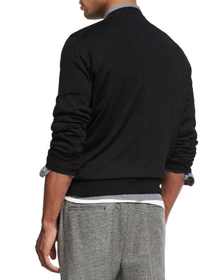 Fine-Gauge V-Neck Sweater