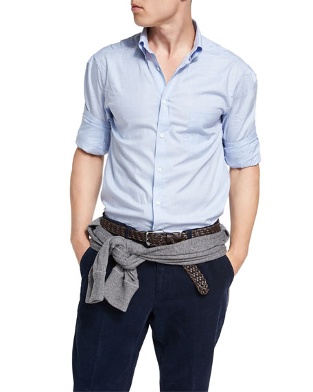 Button-Collar Cotton Oxford Shirt, Light Blue