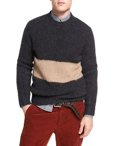 Striped Alpaca-Blend Crewneck Sweater