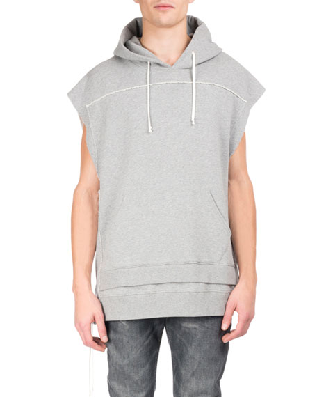 Pieced Double-Layer Sleeveless Hoodie, White/Gray