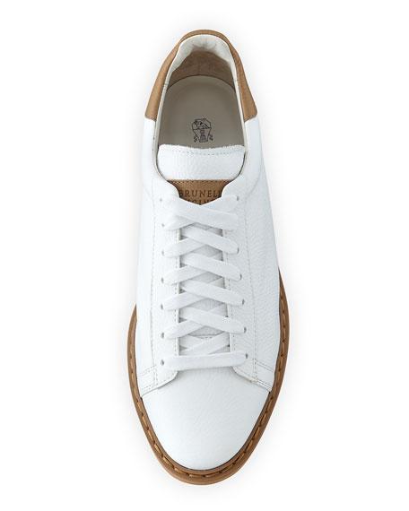Icaro Leather Low-Top Sneaker, White