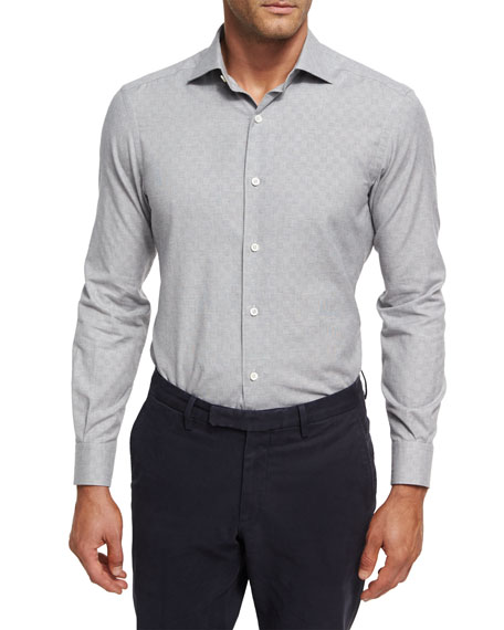 Tonal Box Jacquard Shirt, Gray