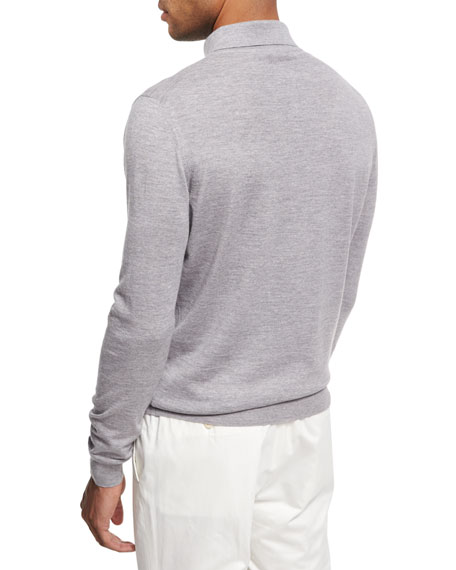 Wool-Cashmere Polo Sweater