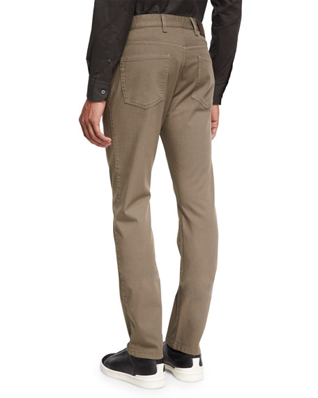 Pique Five-Pocket Pants, Dark Green