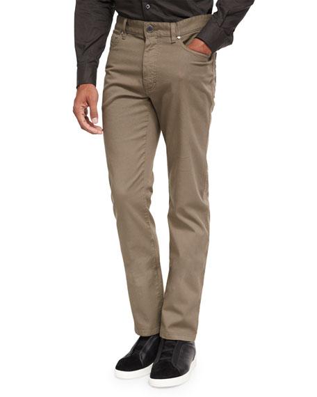 Ermenegildo Zegna Pique Five-Pocket Pants, Dark Green