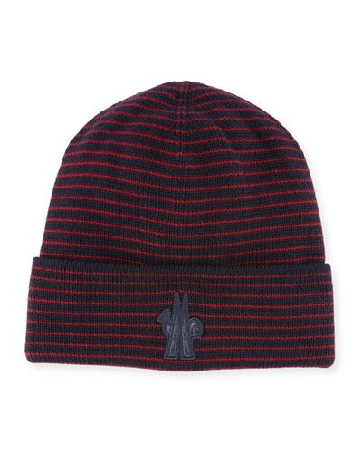 Striped Wool Logo Beanie Hat
