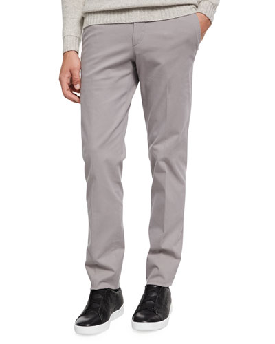 Flat-Front Garment-washed Pants