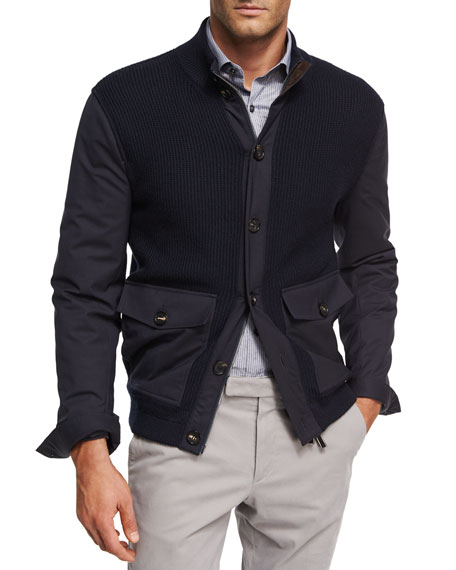 Ribbed Wool Patch-Pocket Cardigan Jacket