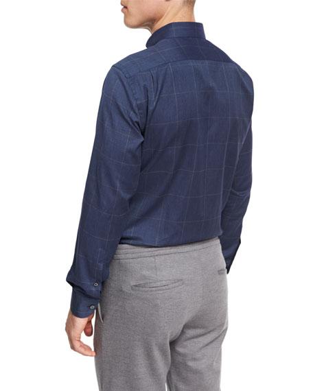 Windowpane Check Cotton Shirt