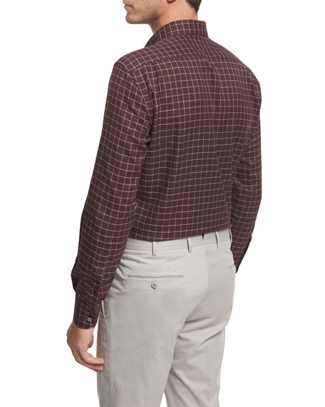 Grid-Check Cotton Shirt, Burgundy/White