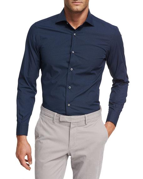 Geometric-Print Cotton Shirt, Dark Navy/Blue