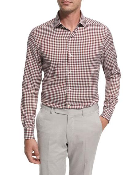 Check Cotton Shirt, Burgundy/Ivory/Gray