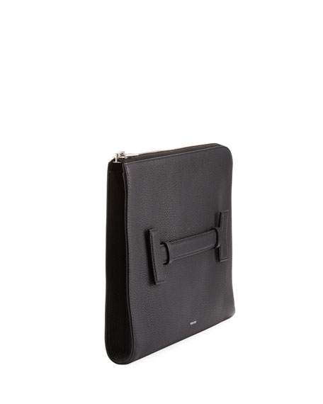 T Line Grained Leather Portfolio Case