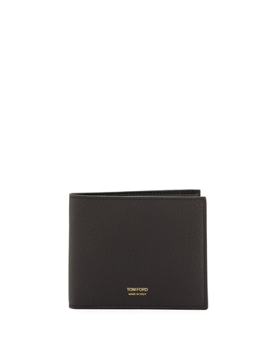 Grained Leather Bi-Fold Wallet