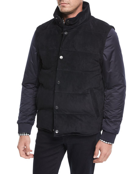 Suede Puffer Jacket w/ Removable Sleeves