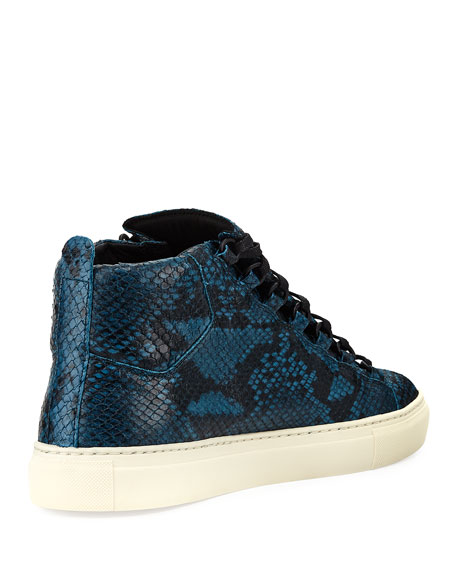 33ebec44f Balenciaga Men s Arena Python-Embossed Leather High-Top Sneaker