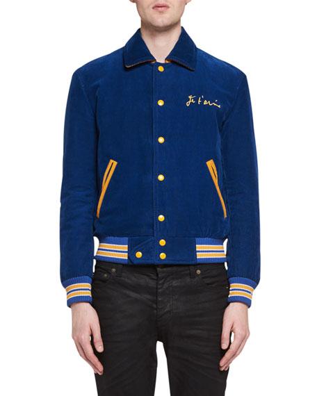 Je T'Aime Teddy Corduroy Bomber Jacket, Blue